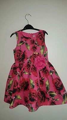 Sainsburys TU Girls Pink Floral Party Dress Age 5 Years Christmas