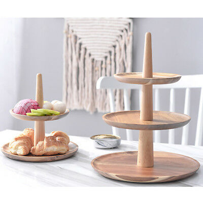 2/3Tier Vintage Wood Round Cake Stand Tray Food Platter Party Tray