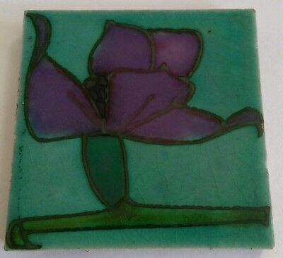 antique MINTONS tube lined Art Nouveau tile - unusual - Mackintosh Glasgow style