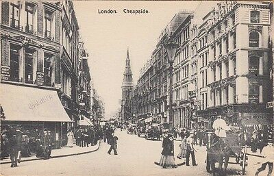 LONDON, ENGLAND ~ GREAT VIEW OF BUGGIES IN CHEAPSIDE STREET ~ c1906