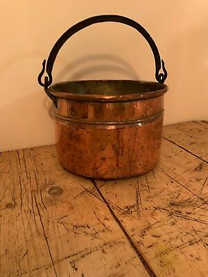 Large ANTIQUE Vintage Hanging COPPER Hand Made CAULDRON