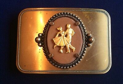 Square Dancing Belt Buckle Vintage Dancers Traditional Country Western Music