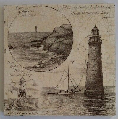 Mintons Victorian antique tile - Minot's Ledge Light house 1860 - RARE US export
