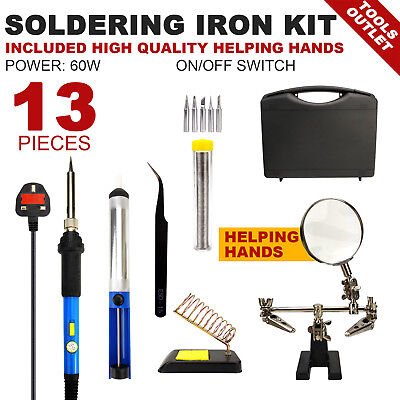 60W 13 IN 1 soldering iron kit with helping hands Desoldering Pump PERFECT KIT