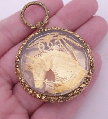 Fine large 9ct/9k gold late 18th/early 19th century horse locket pendant, 375