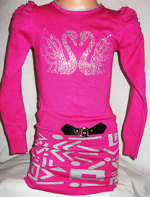 Girls Pink Sparkly Diamonte Swans Logo Black Tribal Print Soft Knit Jumper Dress