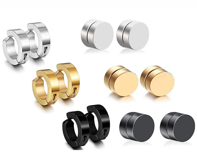 6 Pairs Stainless Steel Non Pierced Huggie Cuff Earrings Clip on Magnetic Stud