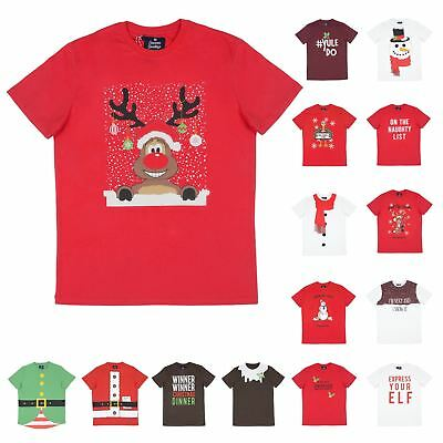 Mens Christmas T-Shirt Novelty Tee Funny Xmas Party Top Reindeer Santa Snowman