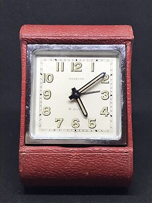 Vintage Art Deco Angelus 8 Day Travel Alarm Clock Not Working Swiss .