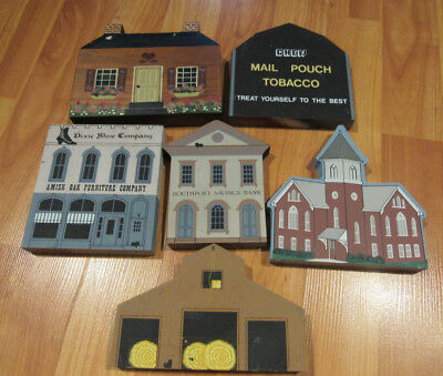 The Cat's Meow Village Lot 6 wooden shelf sitters Bank Amish Oak Tobacco barn