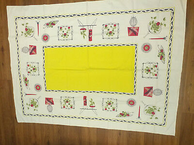Vintage Printed Linen Kitchen Tablecloth 62x47 Rectangle Yellow Red White Navy