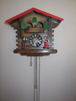 West Germany Cuckoo Chalet Clock Swiss Musical Box Dancers Mostly Working A25-80