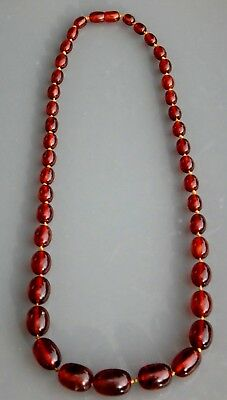 Ancien collier en ambre Old amber necklace beads 47gr