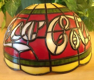 """SALE-Tiffany Style Coca-Cola Stained Glass Plastic Shade 10""""X6"""" Red Gr White"""
