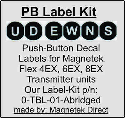 10 Lot, Magnetek Radio Remote Control Flex Transmitter Push Button Decal Labels