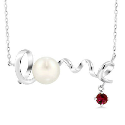 0.40 Ct Round Red Created Ruby 925 Sterling Silver Pearl Pendant With Chain
