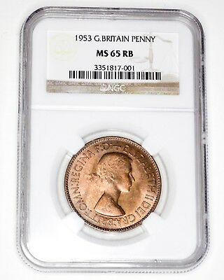 1953 Great Britain Penny 1D NGC MS 65 RB Red Brown