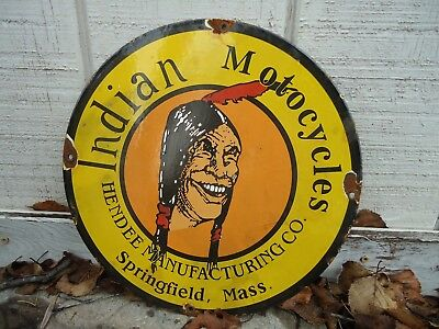"""12"""" Old 1951 Indian Motorcycle Porcelain Advertising Sign"""