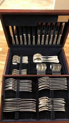 5397g Solid Silver Carrs Sheffield 86 Piece Canteen Of Cutlery 8 Place Setting
