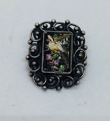 Antique Victorian Sterling Silver Micro Mosaic Ornate  Bird Pin