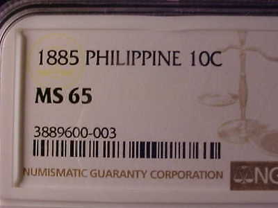 Philippines 10 Centimos 1885 Ngc Ms 65