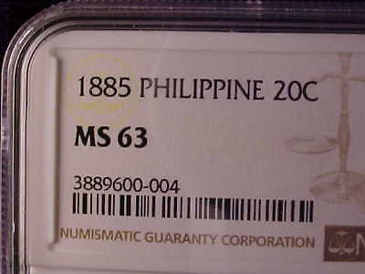 Philippines 20 Centimos 1885 Ngc Ms 63