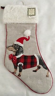 Dachshund Dog Christmas Holiday Decor Pet Stocking Doxie in Santa Hat & Coat NEW