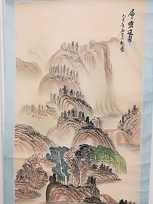 Vintage Chinese Landscape Ink Watercolour Painting on Silk