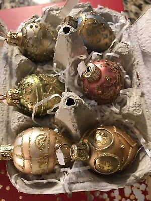 Polish Faberge Egg Style Glass Ornaments made in Poland