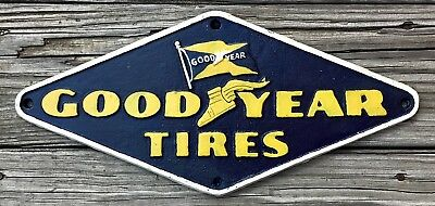 Goodyear Tires, Founded 1898, Vintage Cast Iron Metal Advertising Plaque Sign