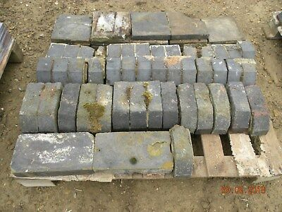 mixed pallet of blue bricks and window sills
