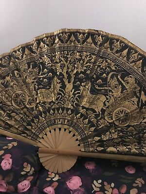 Bali Very Large Wall Fan Black And Gold