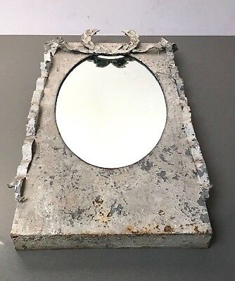Large French-Style, Rectangular Laurel Framed Mirror. Zinc With Draped Ribbons.