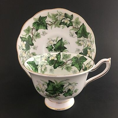 Royal Albert Ivy Lea Avon Shape Teacup And Saucer From 1950-1960's Green Leaves