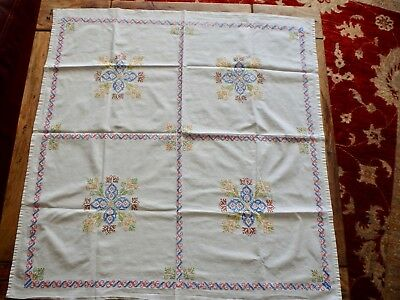 Vintage Hand Embroidered Square Table Cloth