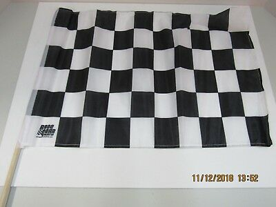 "Checkered Flag Black - White / Youth - Cloth 12"" x 18"" on 5/16"" Dowel"