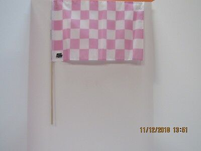 "Checkered Flag PINK - WHITE / Youth - Cloth 12"" x 18"" on 5/16"" Dowel"