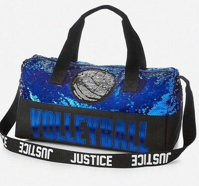 NWT JUSTICE Girls VOLLEYBALL Flip Sequin Duffle Bag So... Pretty!💜💙💜