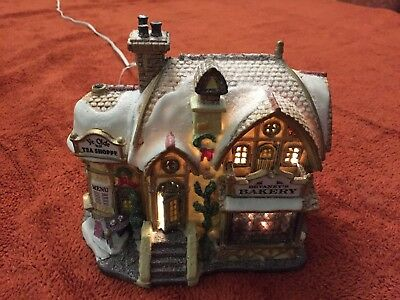 Christmas Scene With Lighting - Devaney's Bakery & Ye Olde Tea Shoppe- Lemax