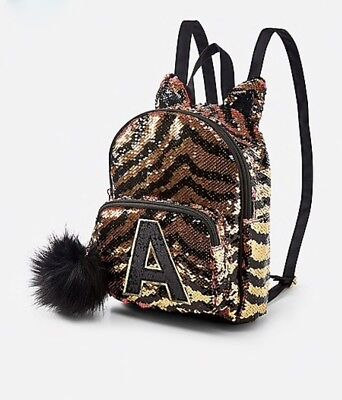 NWT JUSTICE Girls Tiger Initial Flip Sequin Mini Backpack ~ You Choose Initial!