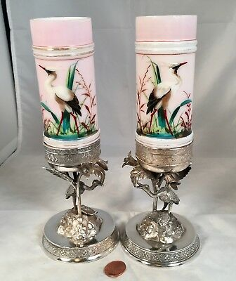 Pair Stork Smith Brothers Vases In Stork Simpson Hall Miller Silver Plate Bases