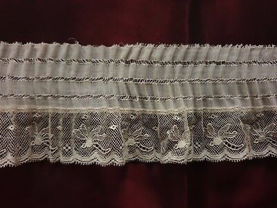 "HANDMADE EDWARDIAN LACE EDGING with tiny pleats 53"" by 2 1/4"
