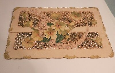 Vintage Victorian Paper Lace Folded Valentines Card -Forget Me Nots Wierd Saying