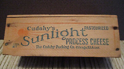 Vintage Food Dairy Advertising-CUDAHY SUNLIGHT WOOD CHEESE BOX-Wood Container