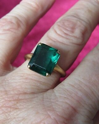 Antique Vintage 10k Gold Setting Emerald Glass Ring Sz 7.5 May Birth Stone 3.7gr