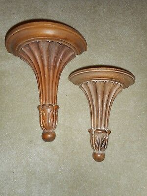 Pair Vintage ITALY Italian Hand-Carved Wood  Wall Sconces  SHELVES Florentine
