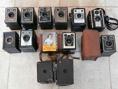 Collection of 12 Vintage Box Cameras. Conway, Coronet, Kodak Brownie, Rex
