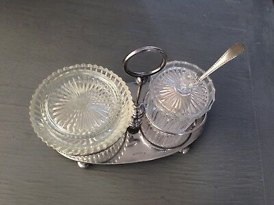 Vintage Silver Plate Stand And Condiments Set