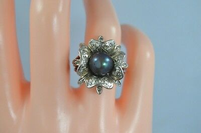 Vintage 14K WHITE GOLD 8.5mm Tahitian Solitaire Pearl .28tcw DIAMOND Chunky Ring
