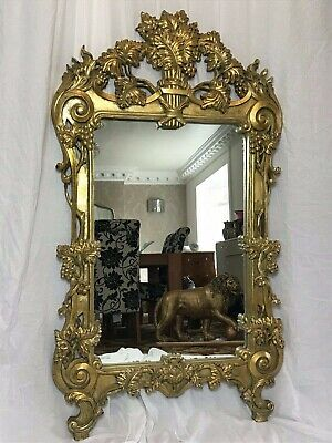 Large Decorative George II Style Gilt Gesso Pier Wall Mirror Rococo Acanthus